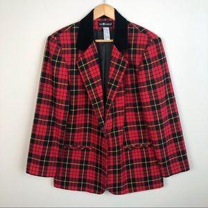 Vintage Sag Harbor Red Plaid Wool Blend Blazer